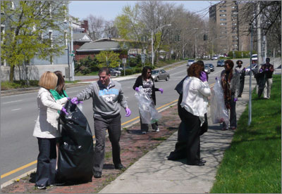 Dutchess County Executive Marc Molinaro joins county employees for a lunchtime and clean-up effort