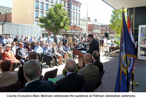 County Executive Marc Molinaro addresses the audience at Pattison dedication ceremony.