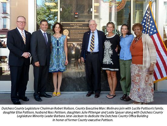 Dutchess County Legislature Chairman Robert Rolison, County Executive Marc Molinaro join with Lucille Pattison's family.