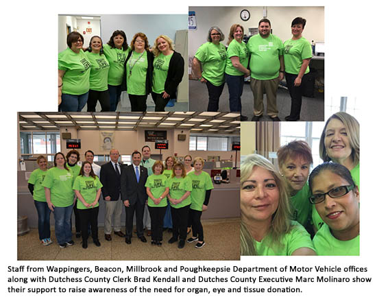 Staff from Wappingers, Beacon, Millbrook and Poughkeepsie Department of Motor Vehicle offices along with Dutchess County Clerk Brad Kendall and Dutches County Executive Marc Molinaro show their support to raise awareness of the need for organ, eye and tissue donation.