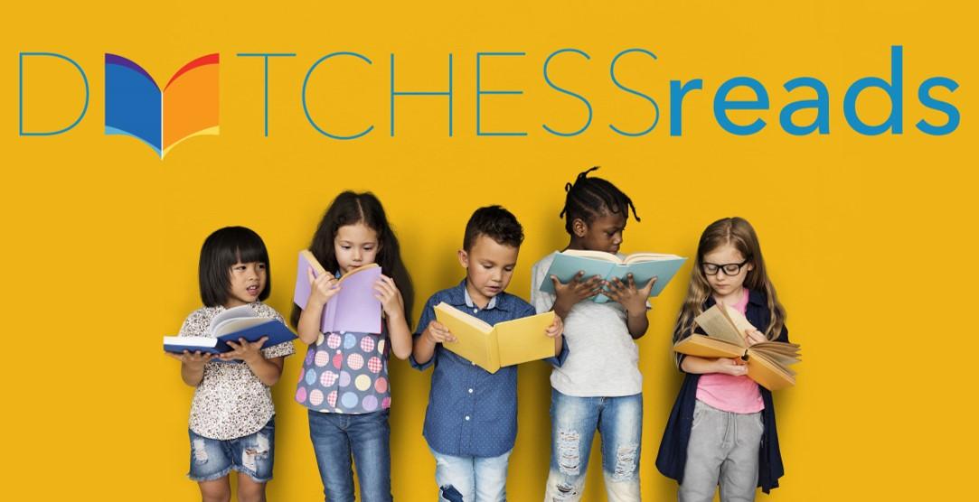 Dutchess Reads header image: Five children reading books