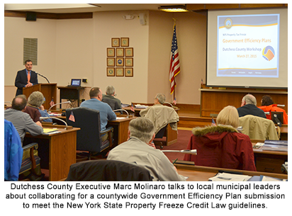 Dutchess County Executive Marc Molinaro talks to local municipal leaders about collaborating for a countywide Government Efficiency Plan submission to meet the New York State Property Freeze Credit Law guidelines.