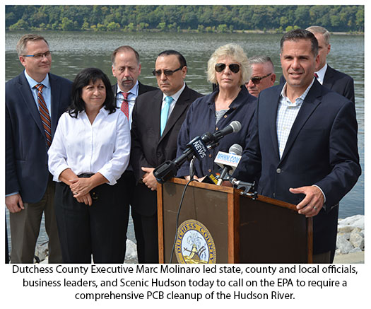 County Executive Marc Molinaro led state, county and local officials, business leaders, and Scenic Hudson today to call on the EPA to require a comprehensive PCB clean up of the Hudson River