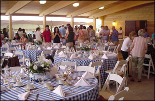 A wedding reception in Pavilion C.