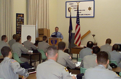 Training unit conducting training session for recruit officer