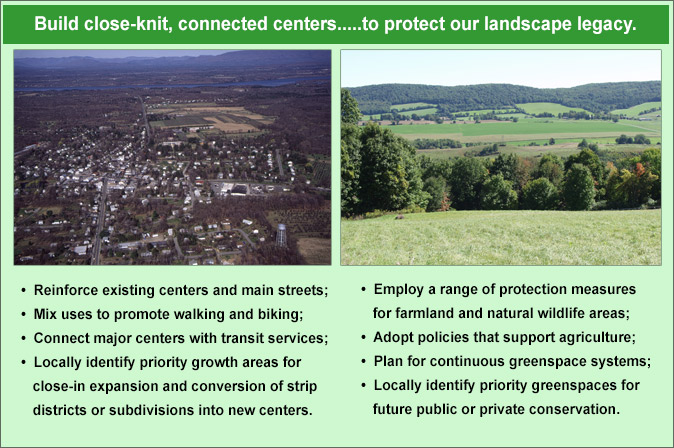 Graphic: Build close-knit, connected centers to protect our landscape legacy.
