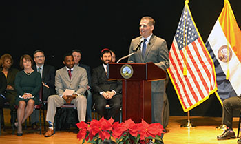 Marcus J. Molinaro speaking to the audience at the 2016 Oath of Office ceremony.