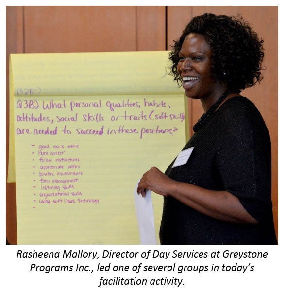 Rasheena Mallory, Director of Day Services at Greystone Programs Inc., led one of several groups in today's facilitation activity.