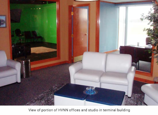 View of portion of HVNN offices and studio in terminal building
