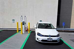 Above, an electric vehicle charging station