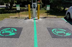 An electric vehicle charging station at Village Hall in Tivoli.