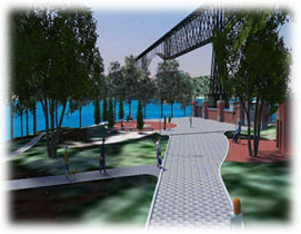 Image of Walkway and City of Poughkeepsie Waterfront