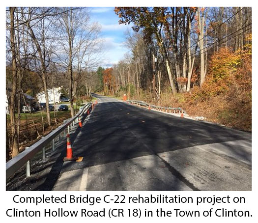 Photo: Completed Bridge C-22 rehabilitation project on Clinton Hollow Road (CR-18) in the Town of Clilnton