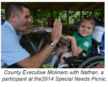 County Executive Molinaro with Nathan, a participant at the 2014 Special Needs Picnic.