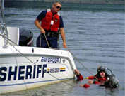 Underwater Search and Recovery unit in the water