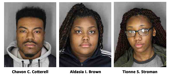 Sheriff's Office News Release Photos April 7, 2017 (L to R) Chavon C. Cotterell, age 24 of Poughkeepsie Aldasia I. Brown, age 17 of Poughkeepsie Tionne S. Stroman, age 17 of Poughkeepsie