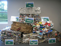 Display of recyclable materials at ReCommunity Beacon