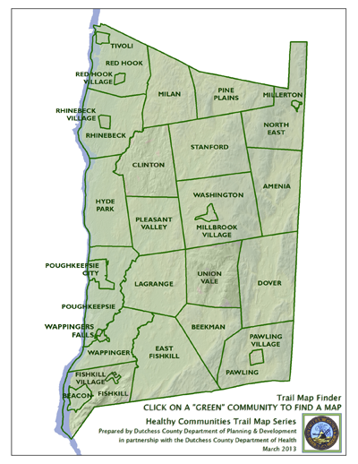 Map Of Dutchess County Ny Parks:Healthy Communities Trail Map Series:Trails in Dutchess  Map Of Dutchess County Ny