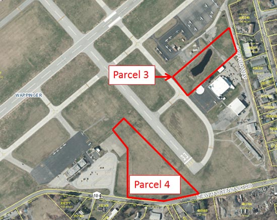 Arial view of Dutchess County Airport with links to Parcels available for development