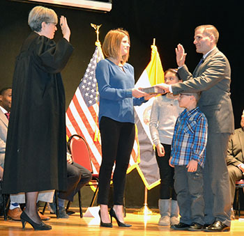 Marcus J. Molinaro taking the Oath of Office at the 2016 ceremony.