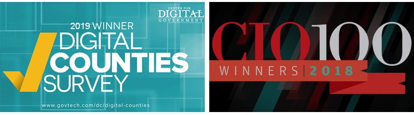 2019 Winner Digital Counties Survey and 2018 Winner CIO 100 Banner