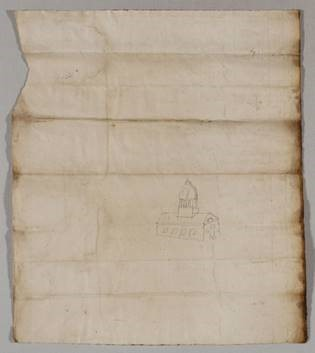 Ancient Document from 1785 includes a doodle of a courthouse on the back-side of the page
