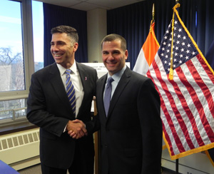 County Executive Molinaro shaking hands with Ulster County Executive