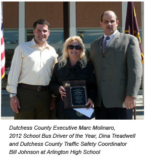 County Executive Molinaro with School Bus Driver of the Year award recipient