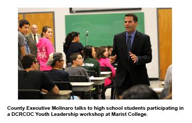 County Executive Molinaro talks to high school students