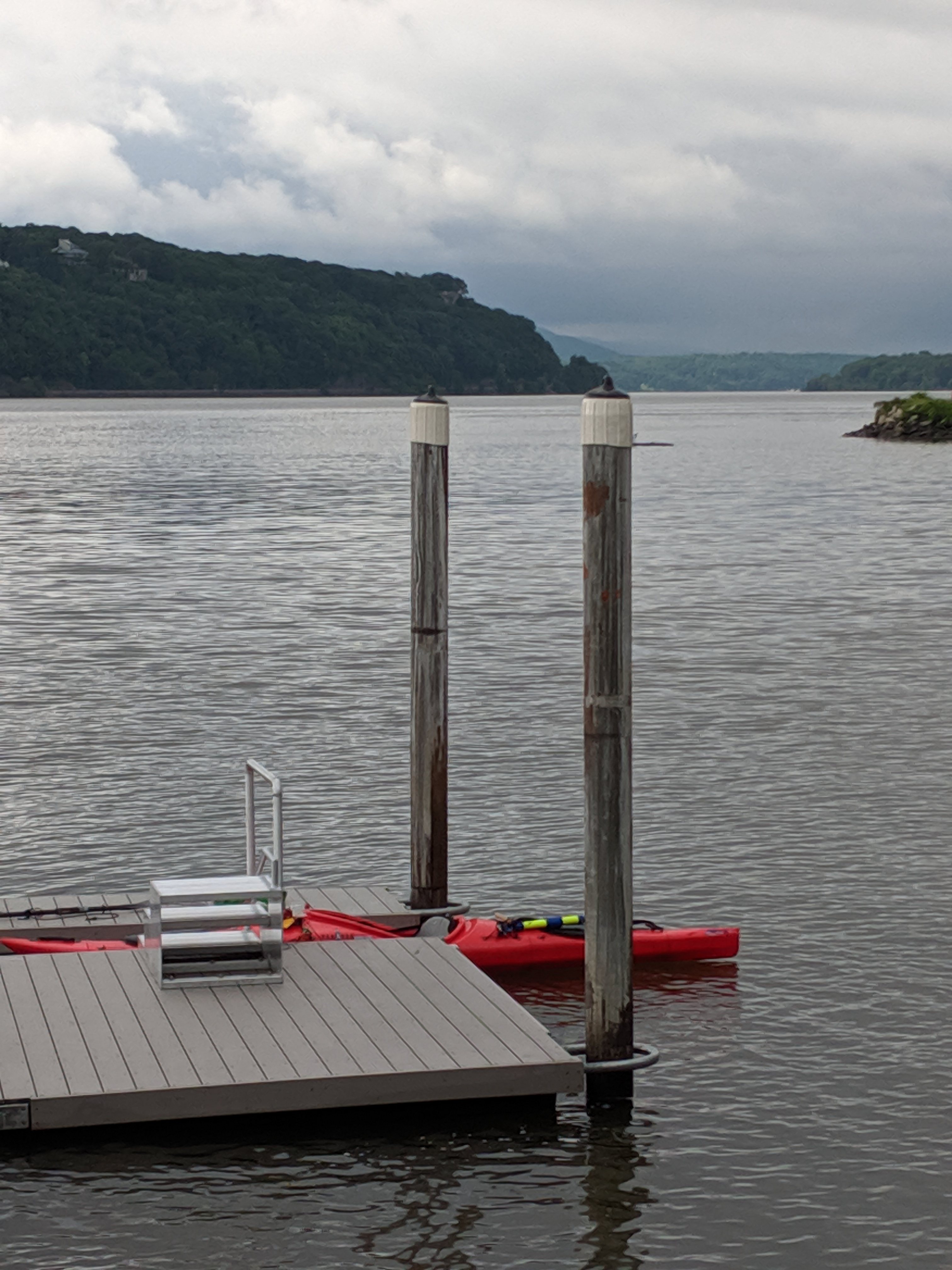 The Hudson River, looking north from Dutchess County's Quiet Cove Riverfront Park in Poughkeepsie.