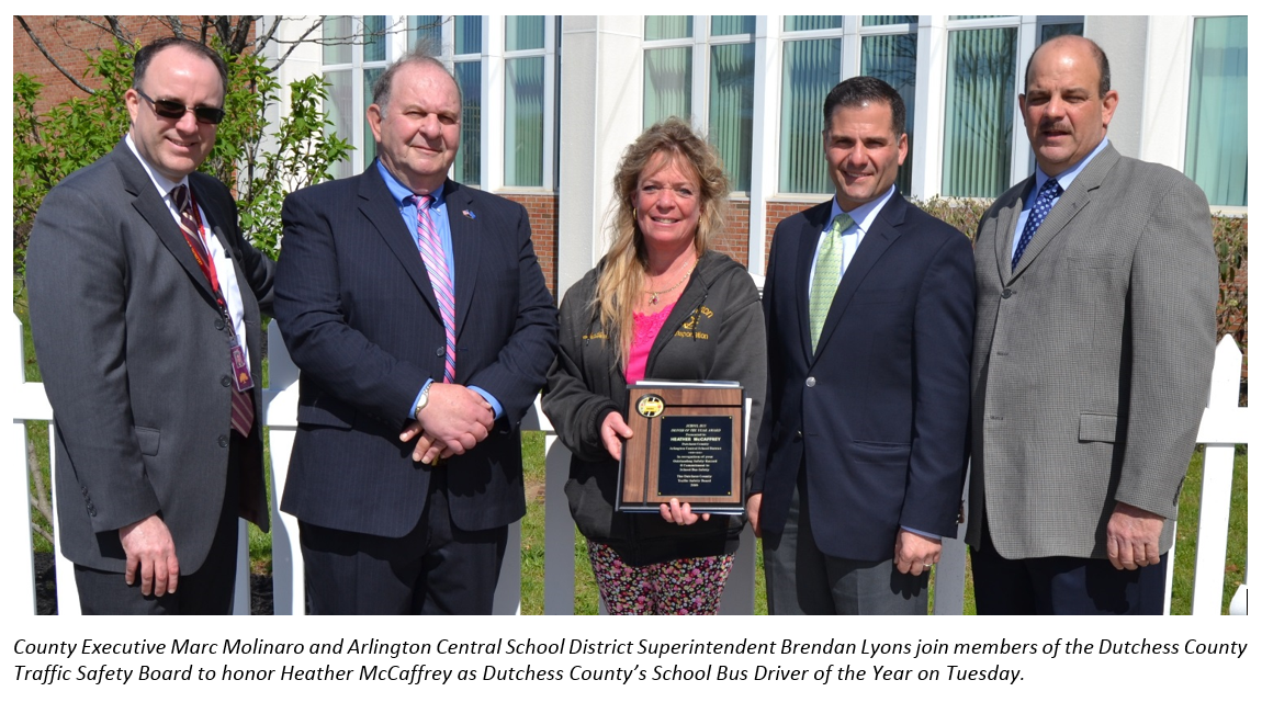 County Executive Molinaro with 2016 School Bus Driver of the Year, school superintendent and Traffic Safety Board members