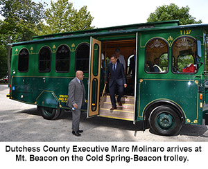County Executive Molinaro arriving on trolley