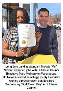 County Executive Molinaro with County employee Melody Newton