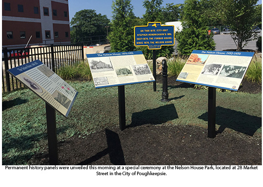 History panels at Nelson House Park