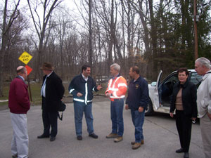 Wednesday, April 18, 2007 - Legislator Marge Horton tours rain soaked areas of East Fishkill with State Assemblyman Marcus Molinaro and his Chief of Staff Frank Harris, County Legislator David Kelly, Supervisor John Hickman, Highway Superintendent  Dennis Miller, State Senator Leibell's Dutchess County Coordinator Robert Reilly, and George Whittman Community liaison to the Assemblyman.