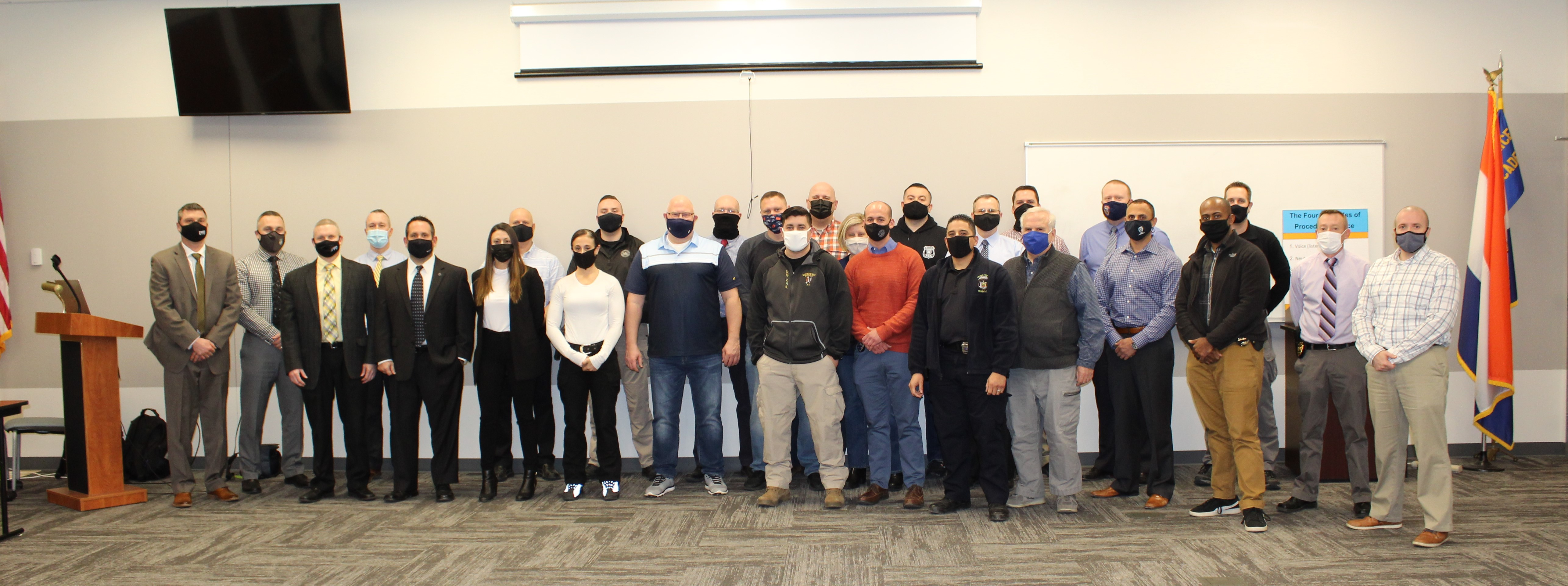 Law enforcement officers who completed the Implicit Bias Train-the-Trainer Course at the Dutchess County Sheriff's Office law Enforcement Center.