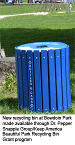 Recycling bin at Bowdoin